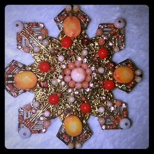 Vtg LARGE signed LEE ANGEL unique snowflake brooch
